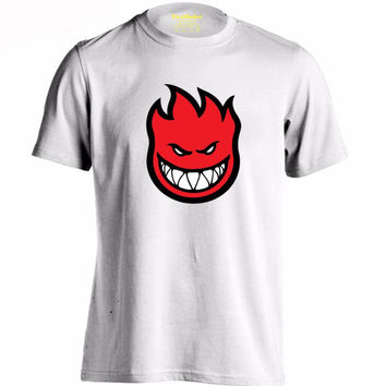 "SPITFIRE WHEELS Skateboard Zombie Flaming Head ""White TShirts"""