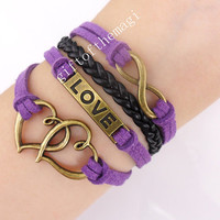 double heart,love,&infinity karma charm Bracelet Antique bronze--cotton ropes braid Leather bracelet--the best friendship gift 477