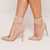Missguided - Lace Up Ankle Cuff Court Shoes Nude