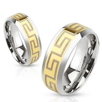 Laser Etched Maze Gold IP Center Stainless Steel Band Ring with Beveled Edge