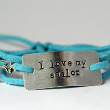 i love my sailor bracelet, hand stamped, coast guard, coastie, military wife, military girlfriend, deployment jewelry, military jewelry
