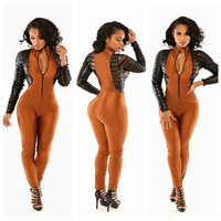 Brown Cut-Out Sleeve Jumpsuit