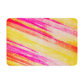 "Ebi Emporium ""All That Jazz"" Yellow Pink Memory Foam Bath Mat"