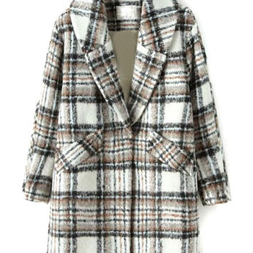 Khaki Plaid Lapel Wool Coat
