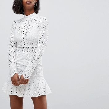 Lioness High Neck Cutwork Lace Mini Skater Dress at asos.com
