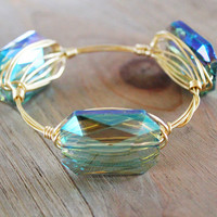 Wire Wrapped Bangle - Wire Jewelry - Faceted Crystal Stone - Wire Bangle Bracelet - Stacking Bangle // GOLD