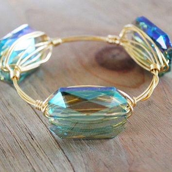 Shop Wire Wrapped Stone Bangles on Wanelo