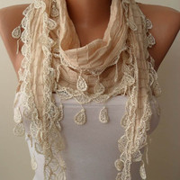 Beige Cotton Scarf with Beige Trim Edge by SwedishShop on Etsy