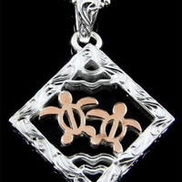 THICK SILVER 925 HAWAIIAN SCROLL 2 ROSE GOLD PLATED HONU TURTLE SQUARE PENDANT