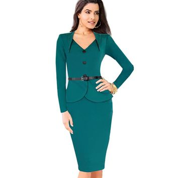 Autumn Winter Womens Vintage Stretch Fitted Casual One-piece Sheath Shift Wiggle Business Wear To Work Dress GB15