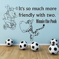 Wall Decals Quotes Vinyl Sticker Decal Quote Winnie the Pooh It's so much more friendly with two Nursery Baby Room Kids Boys Girls Home Decor Bedroom Art Design Interior C33