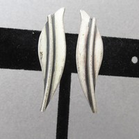 Sterling Silver Modernist 1950's Signed Jewel Art Long Narrow Vintage Leaf Earrings