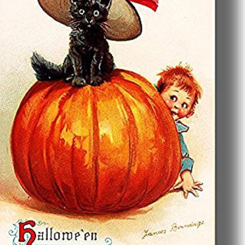 Halloween Black Cat in a Hat on Pumpkin Picture on Stretched Canvas, Wall Art Decor, Ready to Hang!