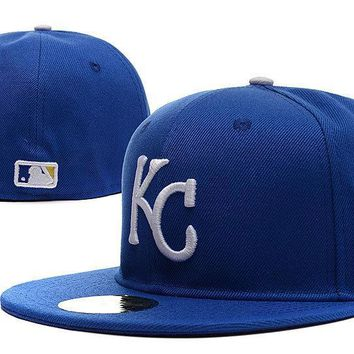 PEAPON Kansas City Royals New Era 59FIFTY MLB Cap World Series Patch Blue