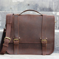 Handmade Leather Messenger Bag / Briefcase - Brown Bag - Cowhide Leather / Leather Purse / Hand Bag / Hip Bag / Shoulder Bag / 15 inch Bag