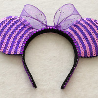 Cheshire Cat Inspired Minnie Mouse Ears  MADE TO by GlitzyVault