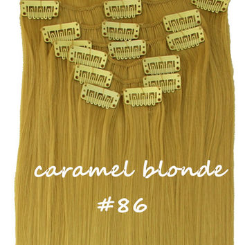 "22"" Full Head Clip In Hair Extensions Straight (8 Wefts / 86 Caramel Blonde)"