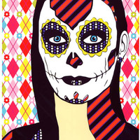 skull girl Day Of The Dead original art abstract pop art sugar skulls skeleton art Dia de los muertos original digital art pink red blue