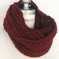 Hand knit Infinity Scarf Merlot Red Scarf Chunky Scarf Winter Infinity Women's accessories - By PiYOYO0