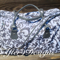 Large personalized monogram weekender travel by AfterNineDesigns