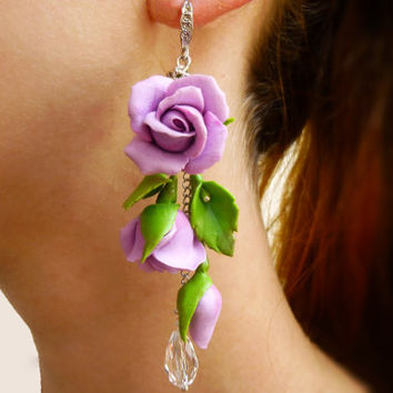 Flower earrings Violet earring Long earrings Purple jewelry Violet flower earrings Rose earrings Flowers jewelry Floral earrings