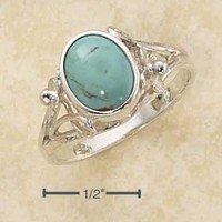 Sterling Silver Ring:  Oval Reconstituted Turquoise Ring With Small Flower Scrolled Shank
