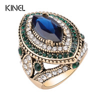 Luxury Big Sapphire Ring Plating Gold Mosaic Green Crystal