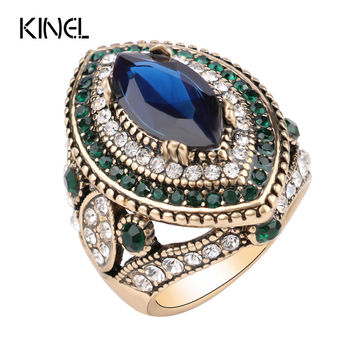 Big Turquoise Wedding Rings For Women Gold Color Mosaic Green Crystal