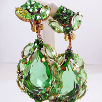 Green Czech Glass Huge Dangling Clip Earrings, Unique vintage, antique costume, estate jewelry