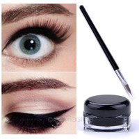Professional Waterproof Black Eye Liner Eyeliner Gel Makeup Cosmetic + Brush Set = 1945994372
