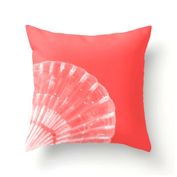 Coral and White Scallop Shell Pillow beach decor coastal decor colorful home decor - coral accent cushion - pantone color Cayenne