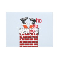 Funny Santa Claus in chimney Doormat