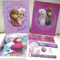 NEW DISNEY FROZEN ELSA & ANNA SCHOOL SUPPLY STATIONARY 11 PC KIT !!