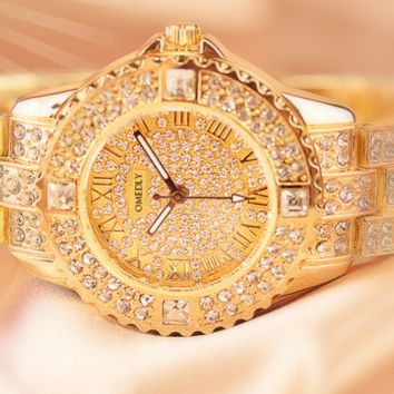 OMEDLY Tide brand women's high-end full diamond casual wild quartz watch gold