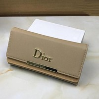Perfect Dior Women Leather Buckle Wallet Purse