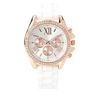 FOREVER 21 Rubber Chronograph Watch White/Rose One
