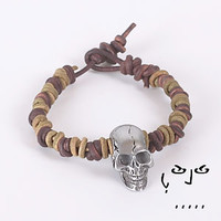 Natural Leather Knotted Bracelet with Skull