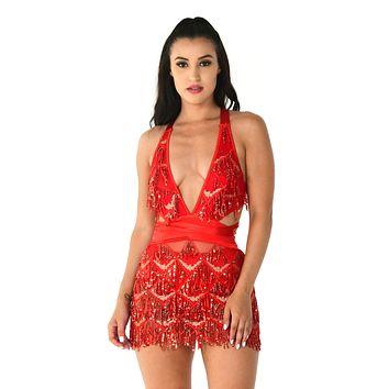 Start A Riot Red Sheer Mesh Geometric Pattern Sequin Fringe Sleeveless Satin Ribbon Plunge V Neck Mini Dress