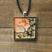 Copper and Onyx Handpainted Necklace,Resin Jewelry,Wearable Art,Pebeo Necklace,Abstract Jewelry,Pebeo Jewelry,Artisan Jewelry,OOAK Jewelry