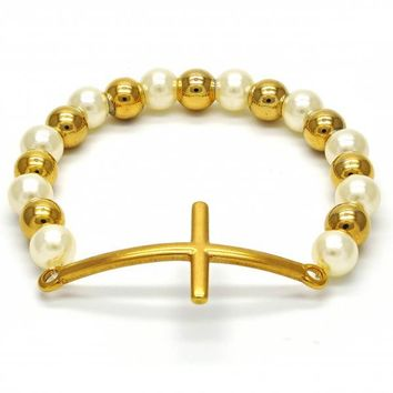 Stainless Steel 03.109.0001.07 Fancy Bracelet, Cross Design, with Ivory Pearl, Polished Finish, Gold Tone