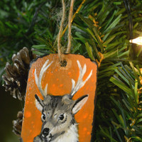 Whitetail Deer Christmas Tree wooden Ornament Hand painted