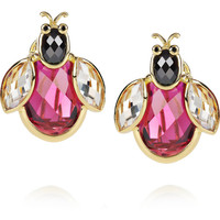 Kenneth Jay Lane | 18-karat gold-plated cubic zirconia ladybug earrings | NET-A-PORTER.COM