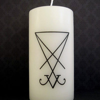 Candle - The Salem Line - Sigil of Lucifer - White - Occult
