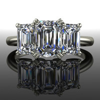 Moissanite Forever Brilliant Engagement Ring Three Stone Emerald Cut 2.16 CTW