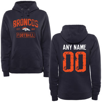 Women's Navy Denver Broncos Distressed Custom Name & Number Pullover Hoodie