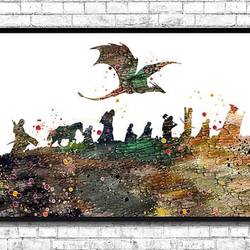 Lord of the Rings Watercolor Art Print, Wall Hanging, Giclee wall print, Movie art poster, Watercolor Art, Home Decor, Wall art, Gift poster