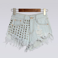 Frayed Rivet High Waist Fringed Denim Shorts