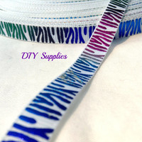 5 yards 3/8 white tye dye grosgrain ribbon - metallic ribbon - animal print ribbon - Wholesale ribbon - hair bow supplies - DIY supplies