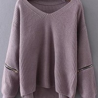 Choker Drop Shoulder Long Sweaters For Fall
