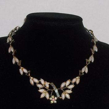 Vintage Floral & Baguette Crystal Gold Tone Statement Necklace